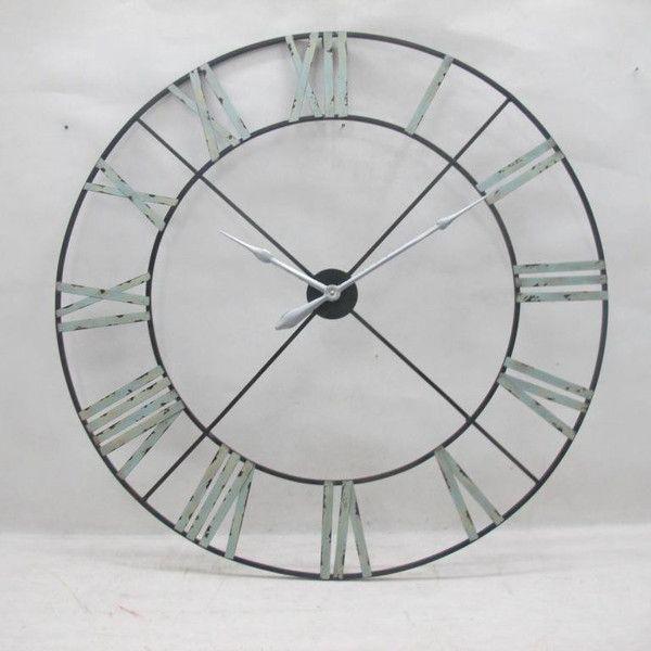 Captivating Black Metal Wall Clock With Red Dot Pendulum Extra Large Clocks Roman  Numerals Iron
