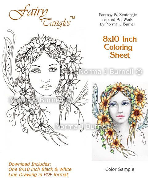 items similar to sunflower flower fairy tangles coloring sheet coloring page by norma j burnell fairy and sunflowers on etsy