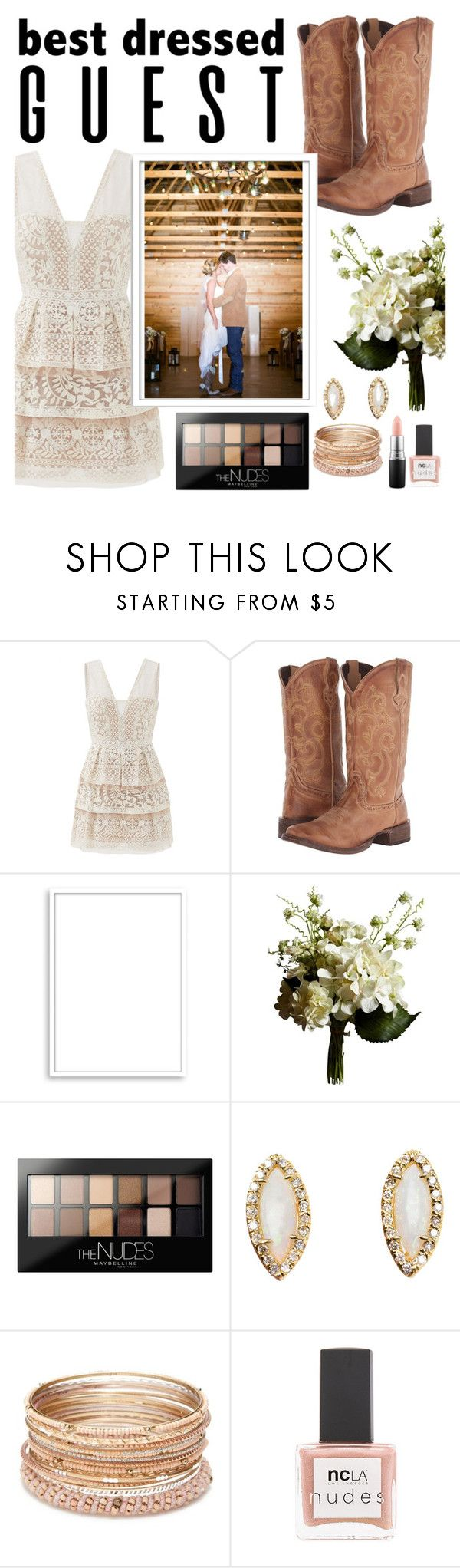 """""""Best dressed guest : Barn wedding"""" by iconsoffashion ❤ liked on Polyvore featuring BCBGMAXAZRIA, Roper, Bomedo, Abigail Ahern, Maybelline, Kimberly McDonald, Red Camel, ncLA, MAC Cosmetics and polyvoreeditorial"""