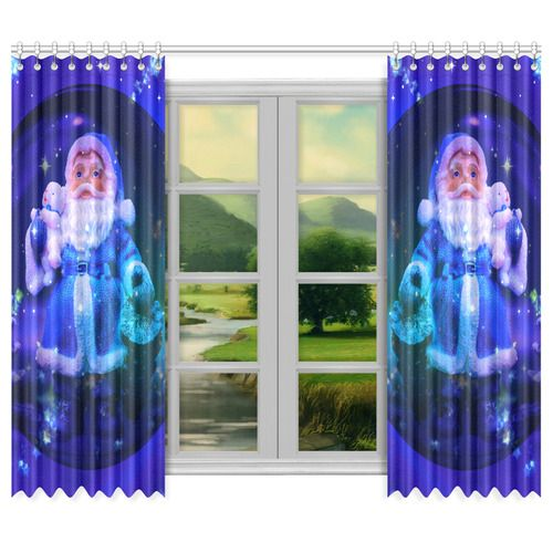 "Blue Santa Claus Window Curtain 50""x84""(Two Piece)"