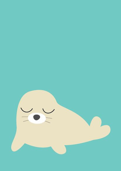 Baby Seal Poster  Modern Animal Illustration by Sealandfriends, $10.50