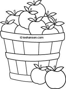 Basket of Apples Farm Stand Coloring Sheet, free printable for personal or classroom use at LeeHansen.com