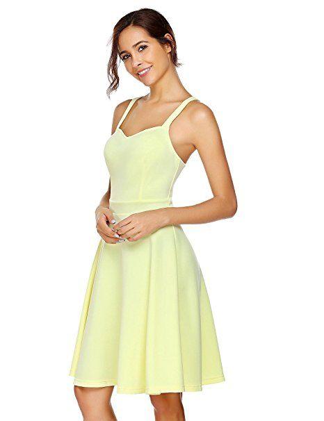 8888780dd5c Acevog Damen Sommer Spaghettiträger Kleid A Linie Knielang Festliches  Abendkleid Partykleid Cocktailkleid  - Sommer Hosen