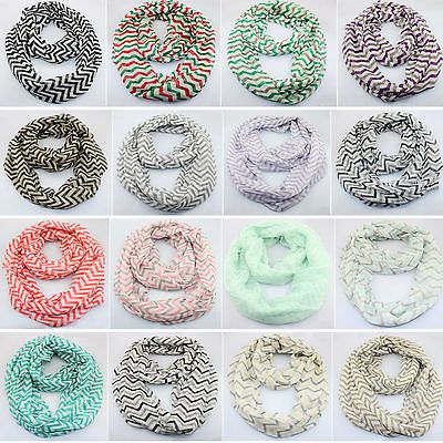 2015 Double Infinity Loop Scarves Soft Stripe Circle Scarf Neck Wrap Cowl Shawl