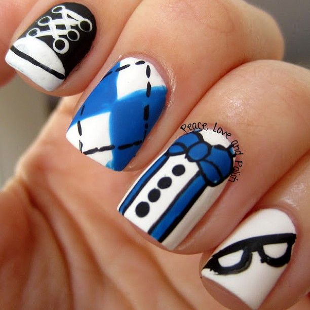 Nerdy nail art is too cute for any one going back to school... This nail art is just absolutely perfect for school if your a need or not (there's nothing wrong with that if you are lol <3) too cute and cool.!!!!