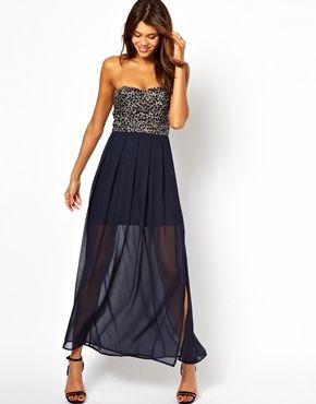 Image 4 ofTFNC Maxi Dress With Sequin Bandeau