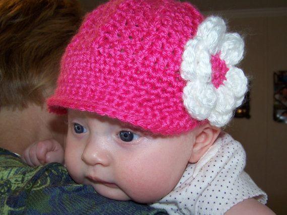 Crochet Baby Girl Newsboy Hat  Baby Girl por crochethatsbyjoyce