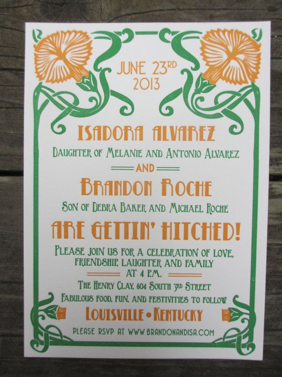 Letterpress Wedding Invitation  Art Nouveau by SeasidePress, $4.00