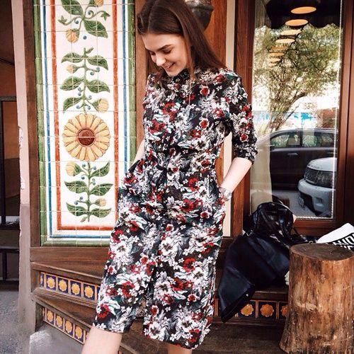 Платье-рубашка цветочное
