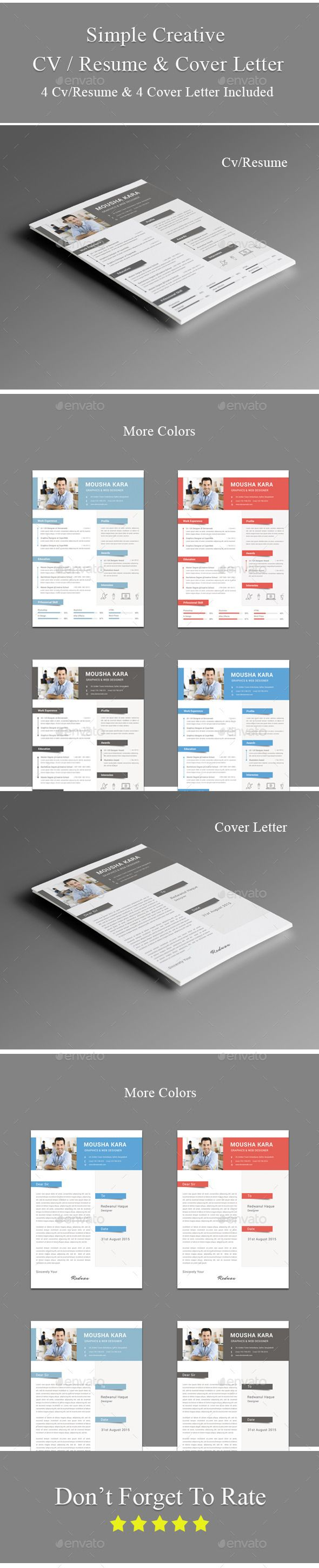 Simple Creative CV / Resume & Cover Letter