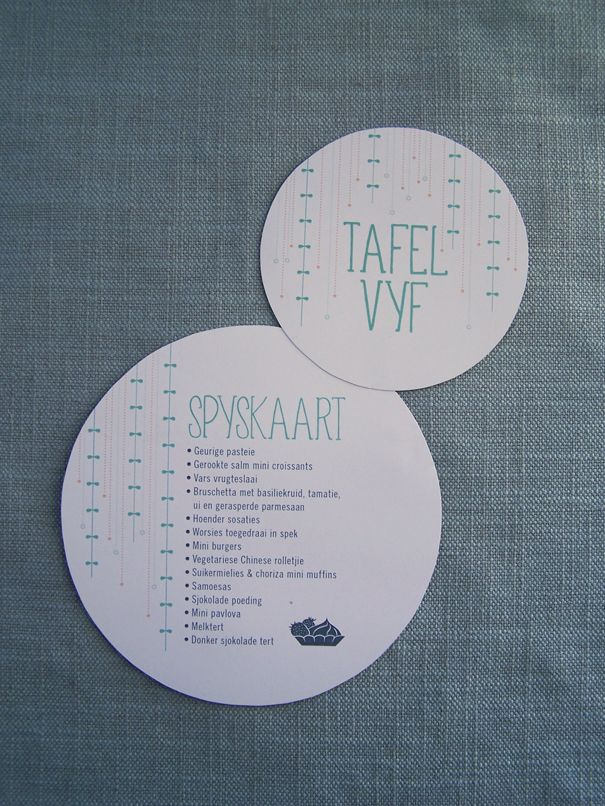 Table number and menu by Willie wagtail design