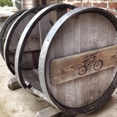 Wine barrel bicycle rack