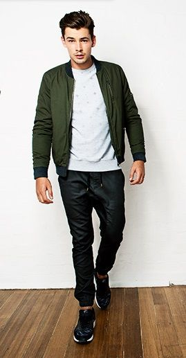 Paddy Bomber Jacket in Khaki & Cole Cuffed Pant in Coated Black   Cotton On