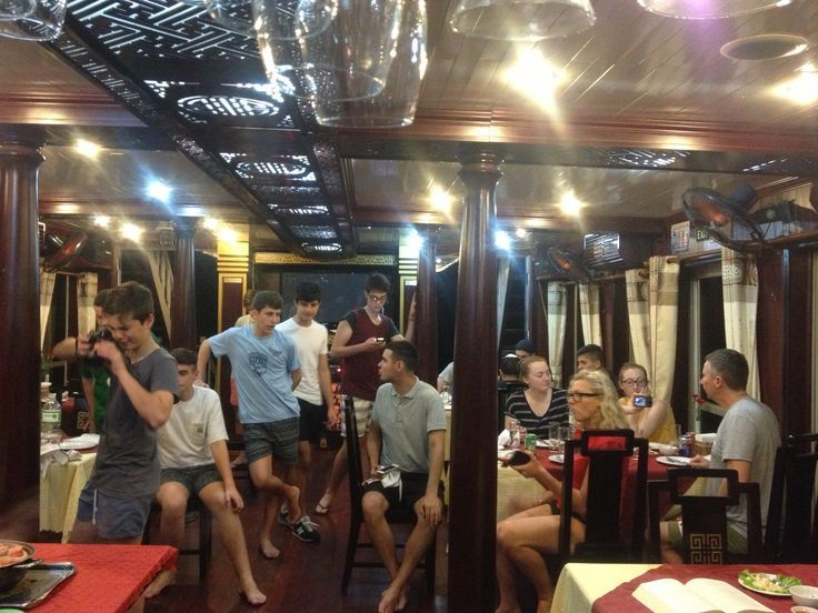 Enjoying freshly caught and cooked seafood while cruising around #HalongBay. #VietnamSchoolTours #Vietnam