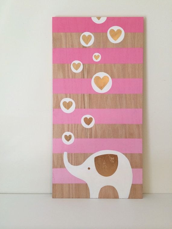 Pink and Gold Nursery Art Elephant Nursery by SweetBananasArt