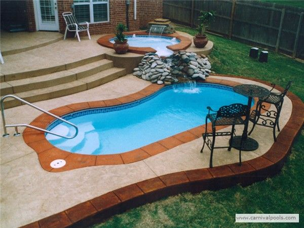 Fiberglass Pool Ideas add a water feature Really Slick Fiberglass Pool With Spa