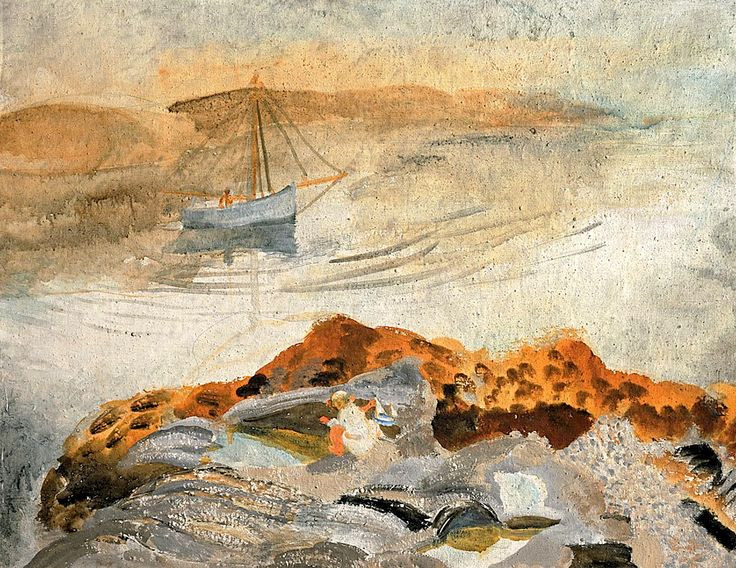 Winifred Nicholson, Seascape with Two Boats, c. 1932