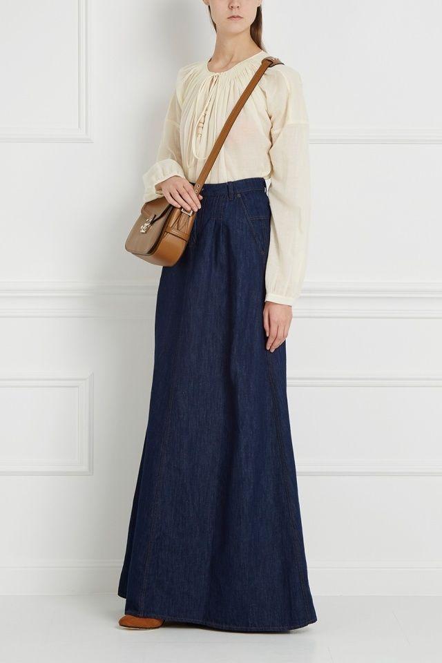 Юбка из хлопка и льна Veronique Branquinho - Прекрасный вариант для создания образа в стиле бохо-шик: длинная юбка темно-синего цвета из коллекции Veronique Branquinho в интернет-магазине модной дизайнерской и брендовой одежды