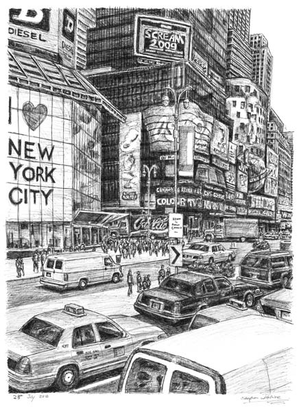 Times square new york city drawings and paintings by stephen wiltshire mbe