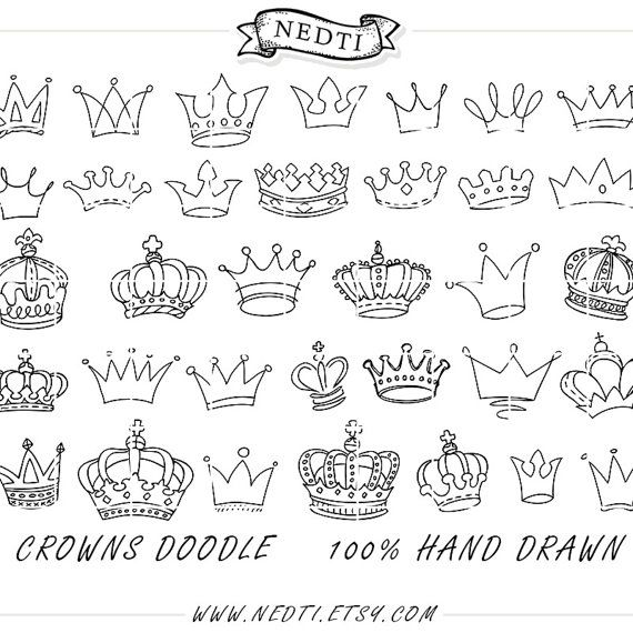 Crowns Doodle Hand Drawn Vector Prince Crown Digital por Nedti