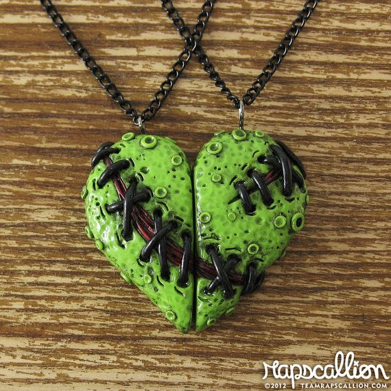 Very Cute!  I wish I had a zombie friend to share it with, :(  Zombie Heart Best Friends Necklace Set by rapscalliondesign, $28.00,  This is for us!!