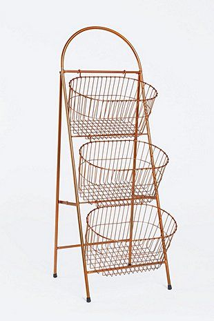 Three-Tier Copper Basket Shelf