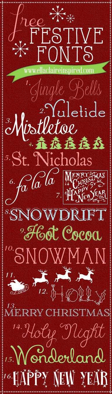 Free Festive Fonts | ellaclaireinspired |  ~~ {16 free fonts w/ easy download links}