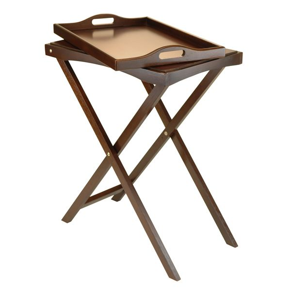 "Devon Butler Table with Serving Tray  Free Shipping! 30 Day Guarantee!  This handsome multi-function server combines a removable serving tray and TV table. Features an antique walnut finish. Use alone or as an occasional table. Stand is foldable.  Serving Tray Dimensions: 22.13""W x 14.65""D x 2.36""H TV Tray Dimensions: 24.02""W x 14.65""D x 29.53""H"