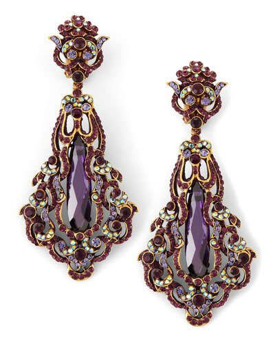 Organic, sweeping Art Nouveau lines and a plum palette lend these Jose & Maria Barrera earrings a decided decadence.