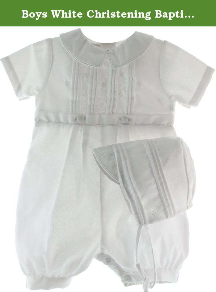 Boys White Christening Baptism Romper & Hat Set (3M). Infant boys white knicker outfit with pin tuck design on chest and embroidery. Baby boys white knicker is a one piece outfit that snaps between the legs and buttons in the back. Beautiful boys Baptismal outfit. 77% Cotton/23% Polyester. Sizes 3M 6M 9M.