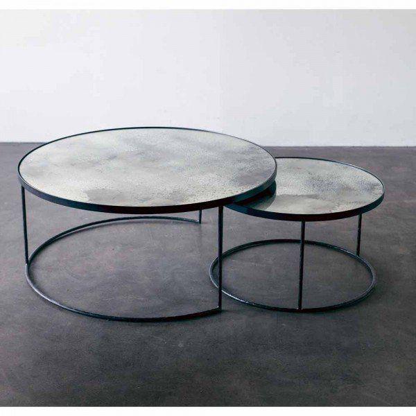 Notre Monde Loungetische Rund Glossy Metall Glas 2er Set Schwarz Grau Wohnzimmertische Lounge Tisch Couchtisch Sets