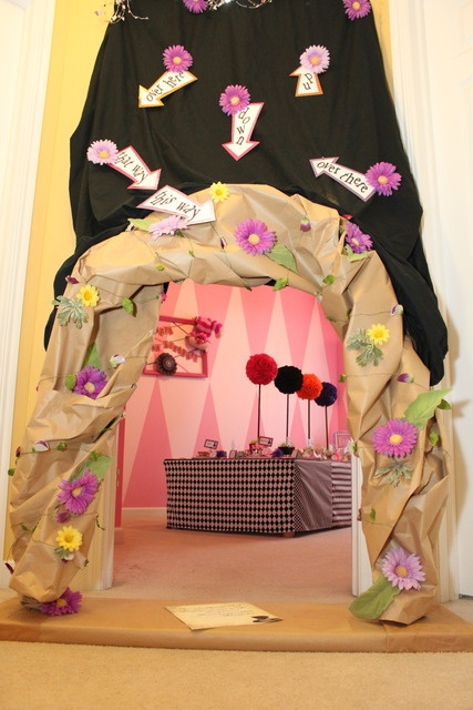 Gorgeous Mad Hatter Tea Party entrance