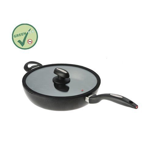 Scanpan IQ 11-Inch Covered Saute Pan by SCANPAN USA INC.. $199.99. Vented glass lid with silicone rim. Pan can be used with high heat for frying and is oven safe to 500-degrees. Squeeze -cast recycled aluminum. Pfoa-free green tek ceramic-titanium nonstick finish is safe for metal utensils. Suitable for induction and all other cook tops. Luxurious Danish design, traditional, solid craftsmanship and the latest advances in technology combine to make Scanpan IQ the new cook...