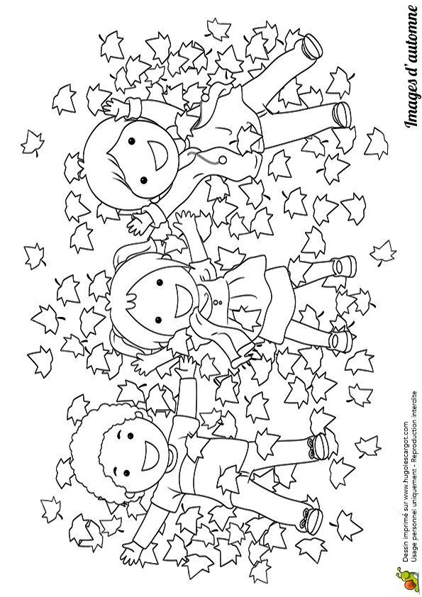 Coloriage / dessin automne jeu d'enfants dans les feuilles