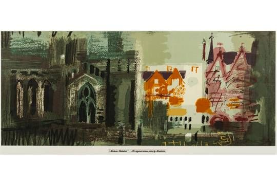 For Sandersons Centenary [1960s] after a design by John Piper [1903-1992] - Northern Cathedral:-