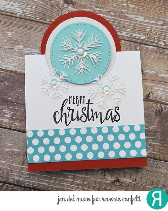 Card by Jen del Muro. Reverse Confetti stamp set: Christmas Blessings. Confetti Cuts: Pop Up Circle, Detailed Circle and Snowflake Trio. RC 6x6 paper pad: Very Merry. RC Cardstock: Brick. Christmas card. Holiday card. Winter card.