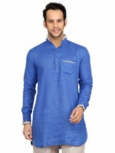 Shop Sky blue linen short pathani online from G3fashion India. Brand - G3, Product code - G3-MSP1024, Price - 1895, Color - Blue, Fabric - Linen,