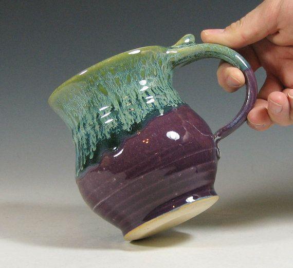Coffee mug ceramic, tea cup pottery, glazed in purple and green, handmade stoneware by hughes pottery hand made via Etsy