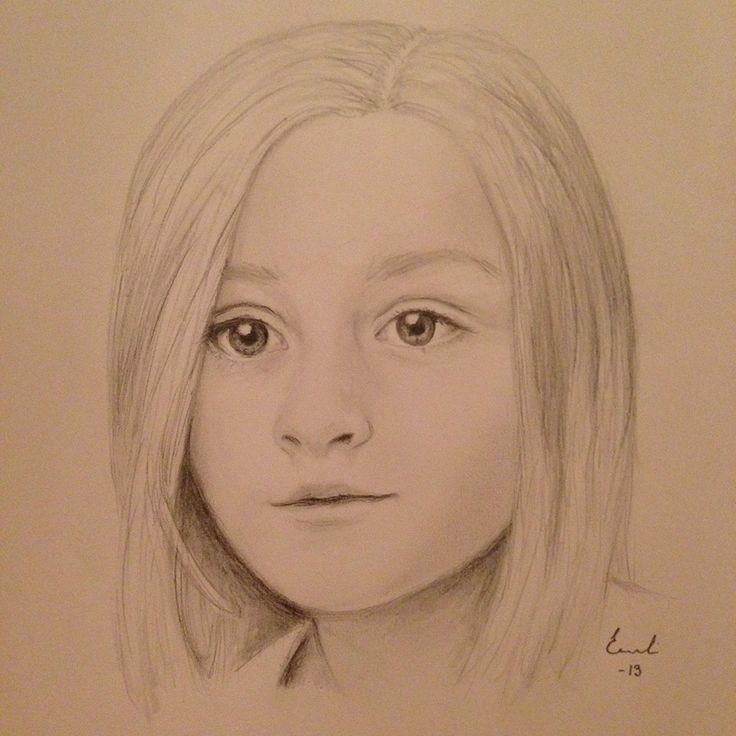 porträtt på ett barn. blyerts