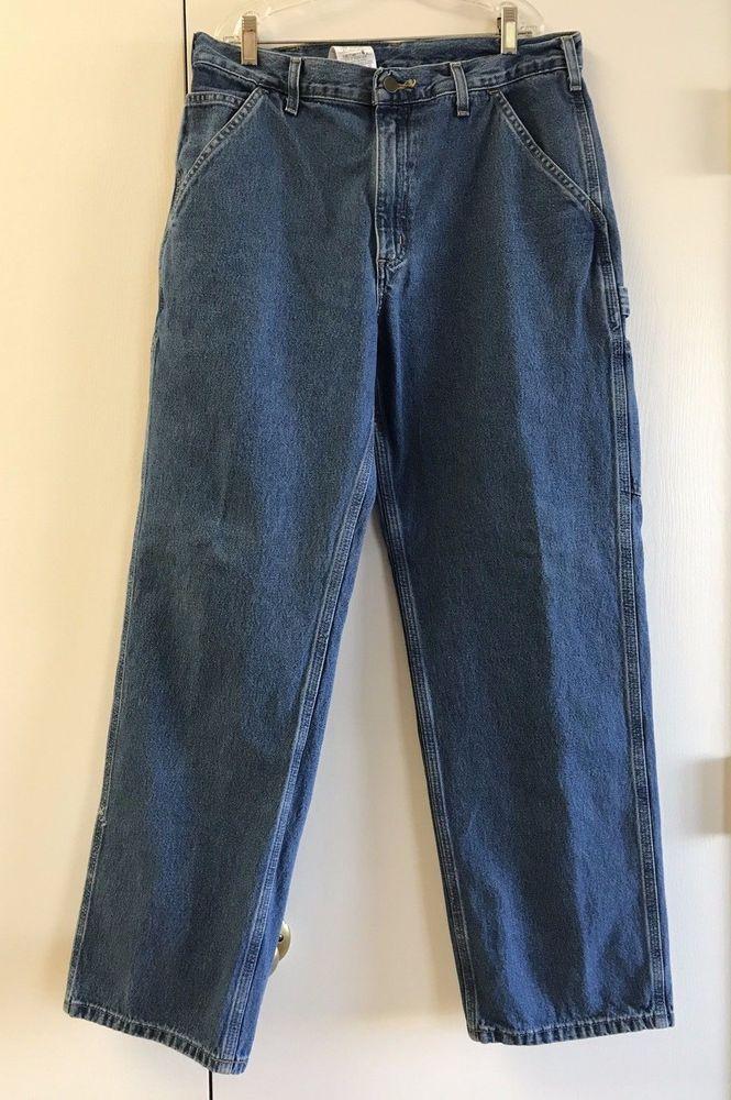 Distressed Carhartt B13 Dungaree Carpenter Work Pants Blue Denim Jeans 33 X 31 #Carhartt #Carpenter