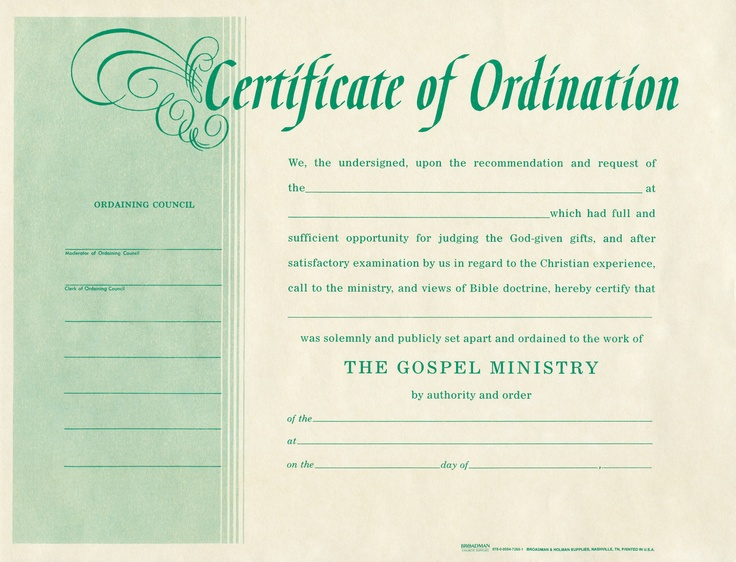 Free blank certificate of ordination ordination for for Deacon ordination certificate template