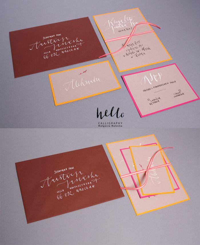 invitation set by HELLO calligraphy .Małgosia Małecka.