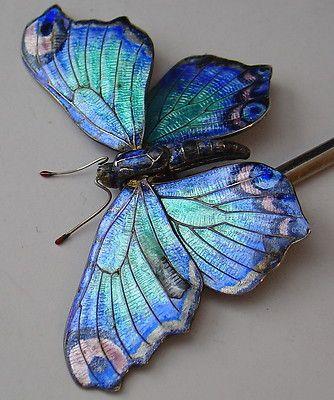antique art nouveau SILVER ENAMEL blue articulated butterfly hair stick pin…