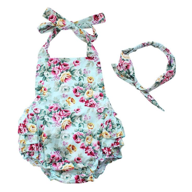 Baby Girls 2pcs Sets Cotton Ruffles Romper Outfits Clothes Blue Roses Flower 12 Months