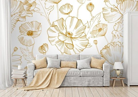 Removable Wallpaper Poppy Flowers Self Adhesive Wallpaper Etsy Room Wallpaper Designs Pink And Grey Wallpaper Removable Wallpaper