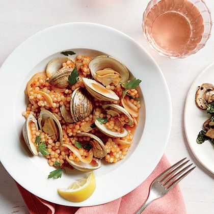 Clams with Israeli Couscous by Cooking Light