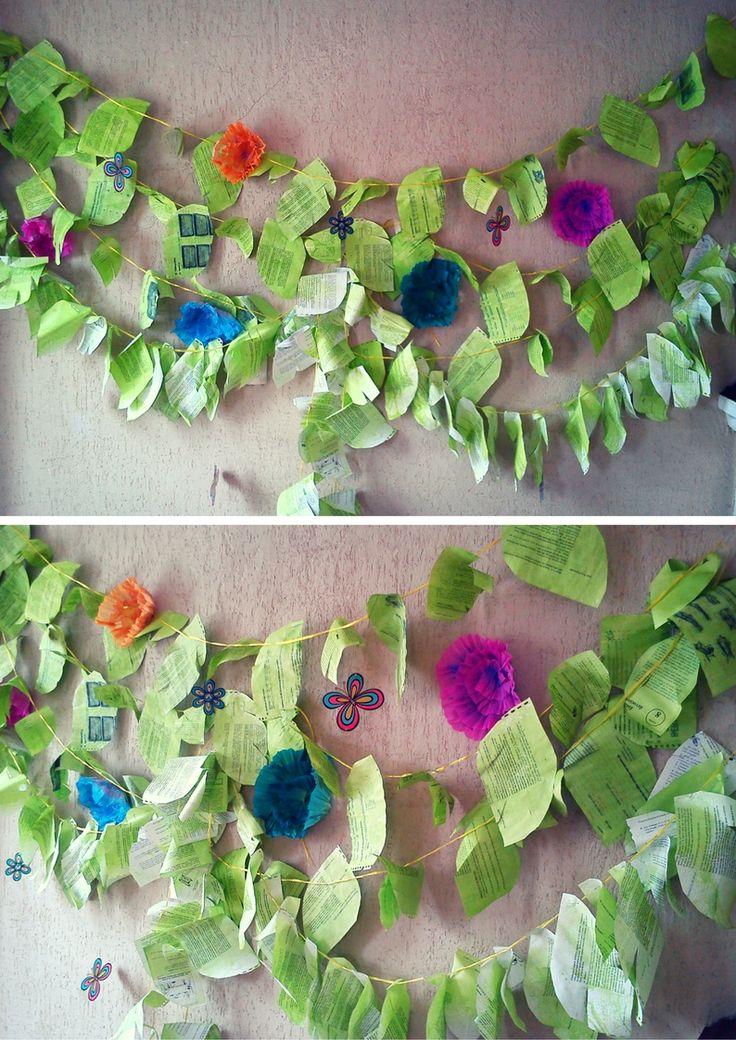 Decoración de Jungla con hojas reciclables con colorante vegetal.