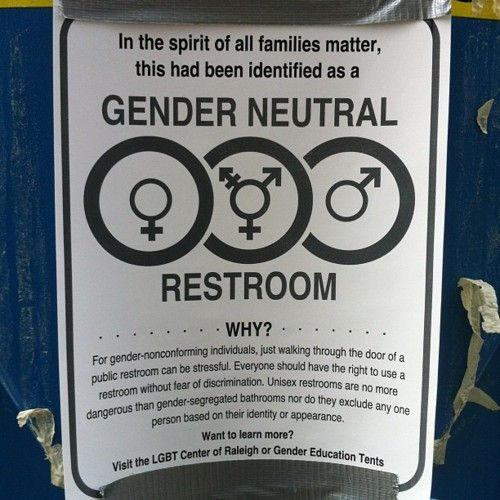 """Sign reads:  """"In spirit of all families matter, this has been identified as a  GENDER NEUTRAL RESTROOM  Why? For gender-nonconforming individuals, just walking through the door of a public restroom can be stressful. Everyone should have the rights to use a restroom without fear of discrimination. Unisex restrooms are no more dangerous than gender-segregated bathrooms nor do they exclude any one person based on their identity of appearance.  Want to learn more? Visit the LGBT Center of…"""