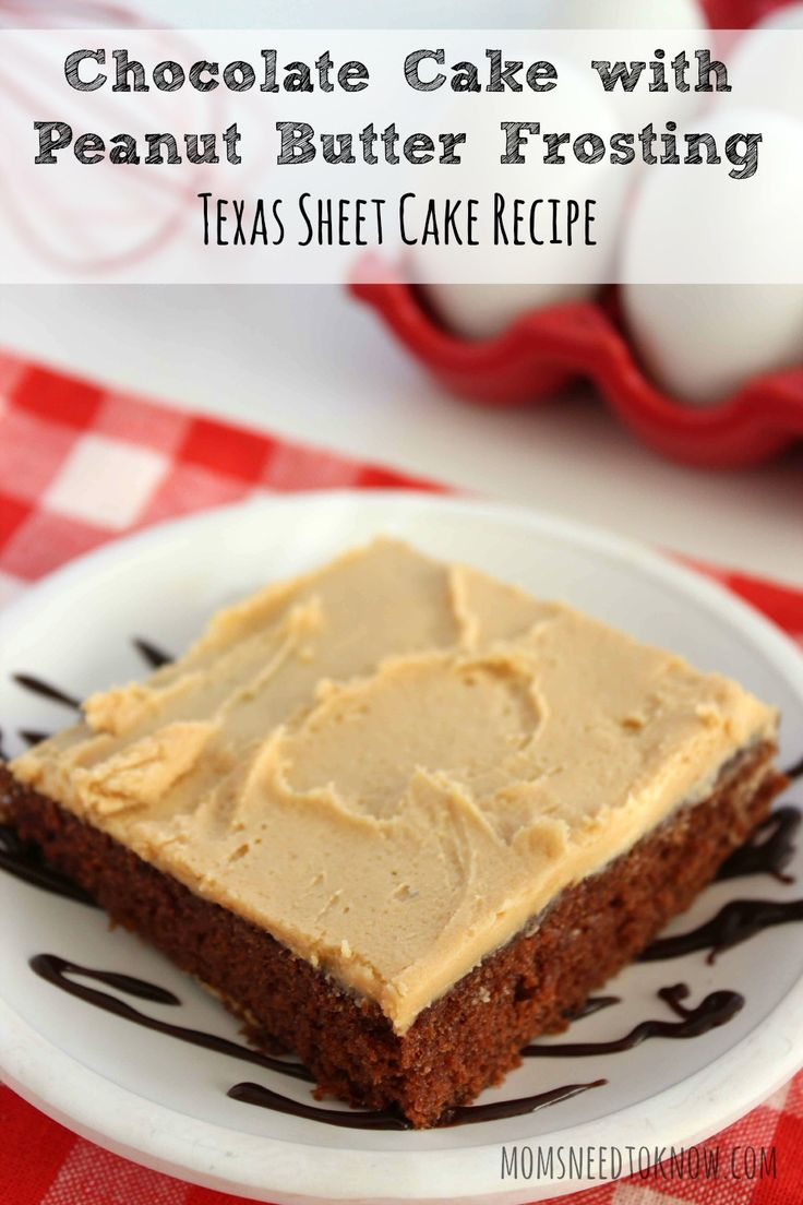 This chocolate cake with peanut butter frosting is the perfect ...