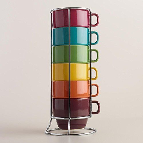 Fall Rainbow Stacking Ceramic Coffee Mugs Set & Chrome Rack - 6 Piece
